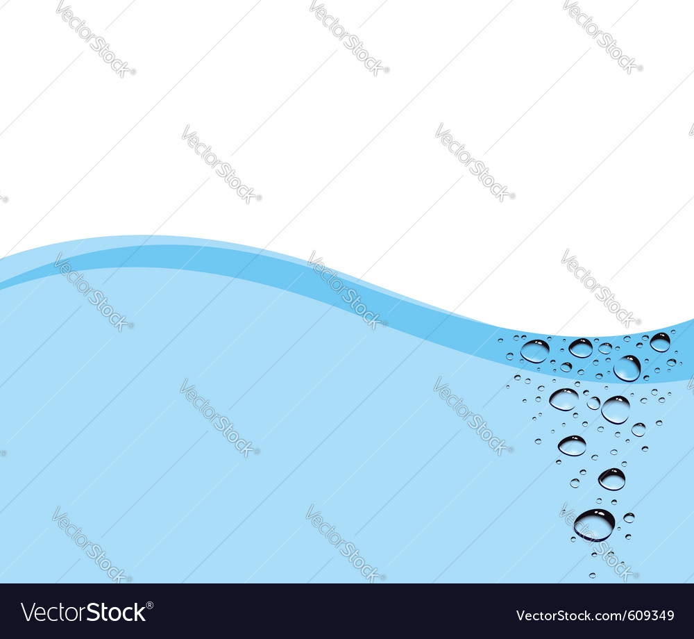 Water bubbles in a stream on a blue card vector