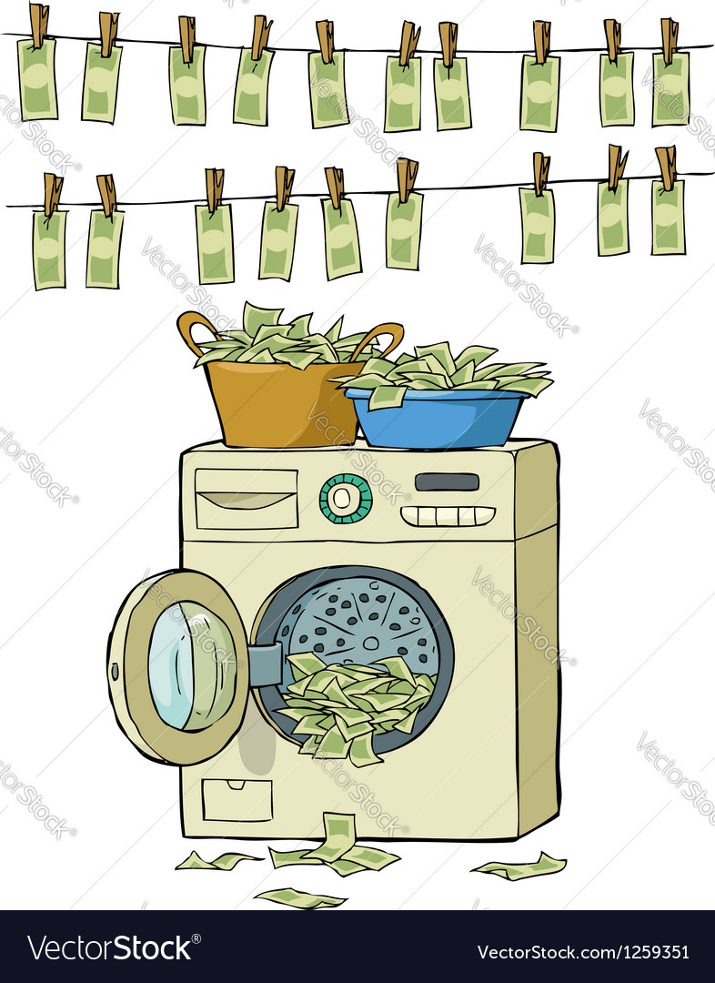 Washing machine with money vector