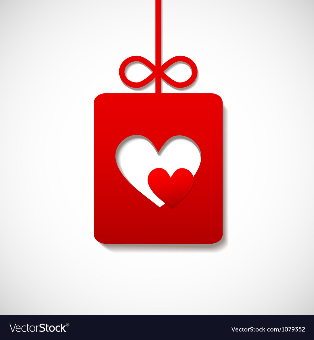 Paper banner by valentine square with two hearts vector