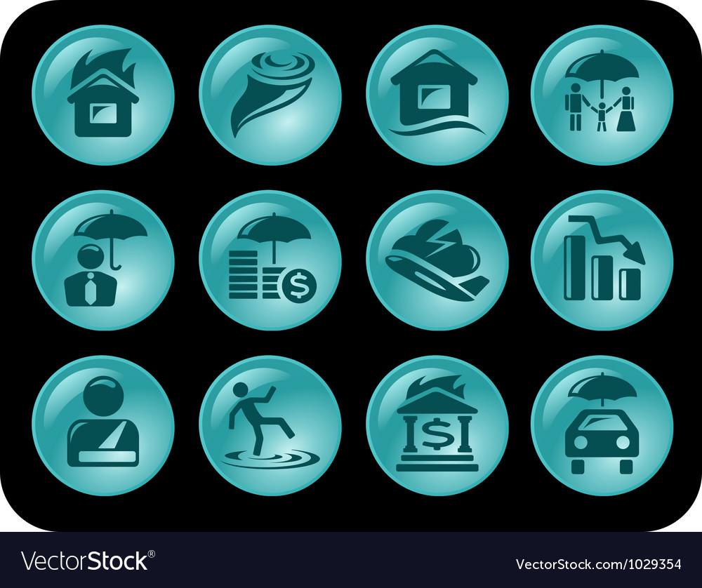 Insurance buttons vector