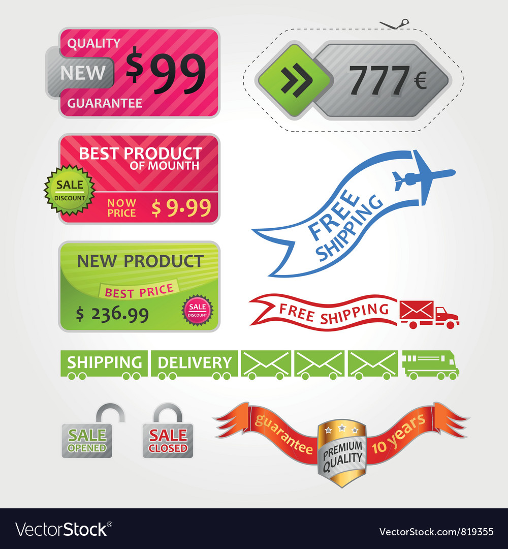 Collection of sale elements vector