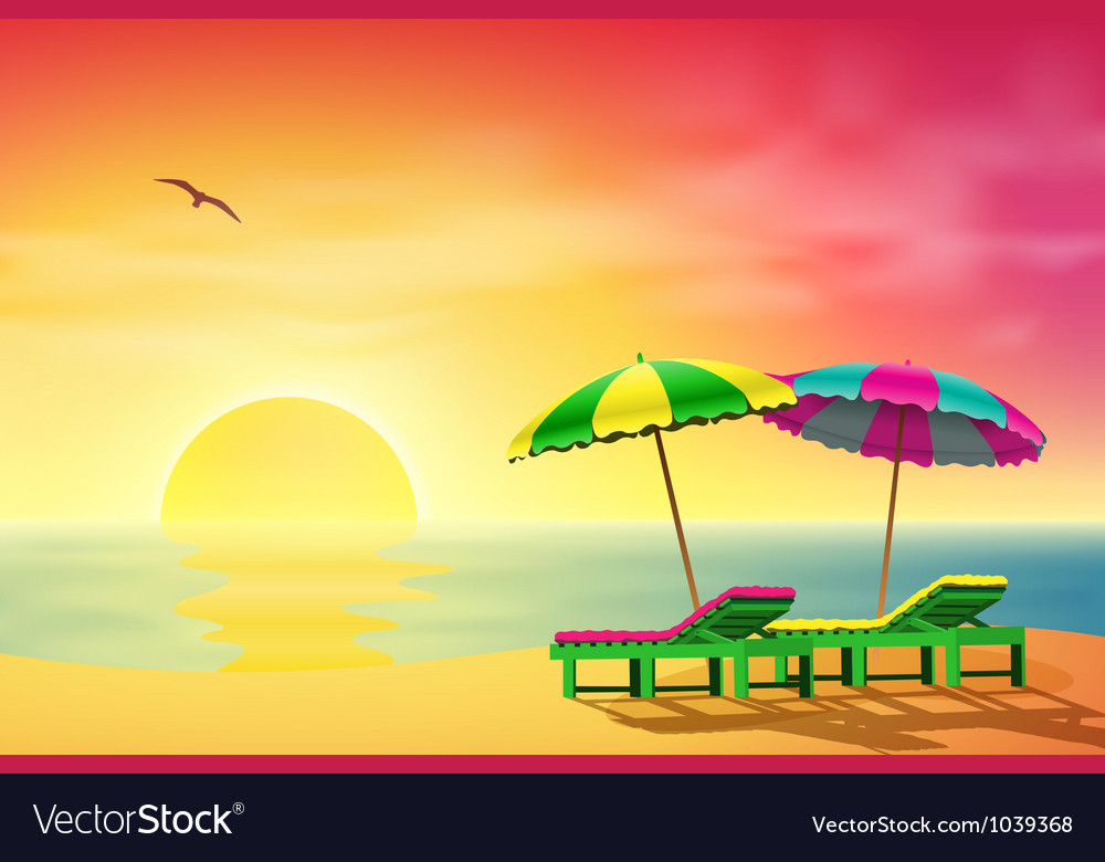 Sun loungers on beach vector