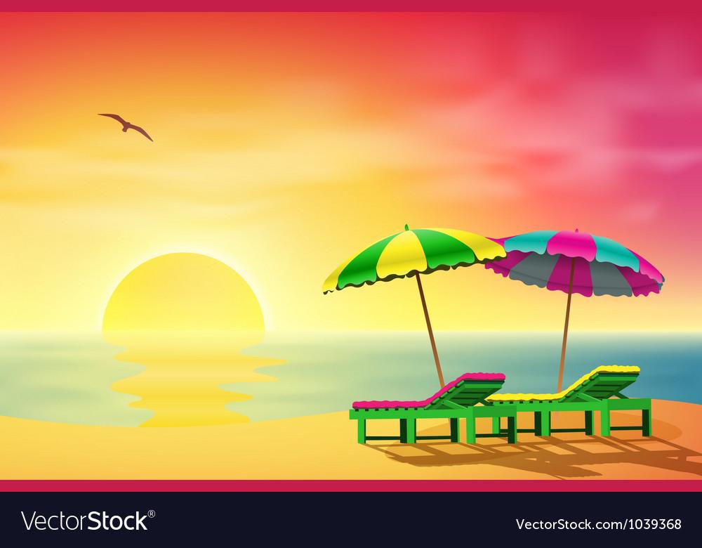 Sun loungers on beach vector