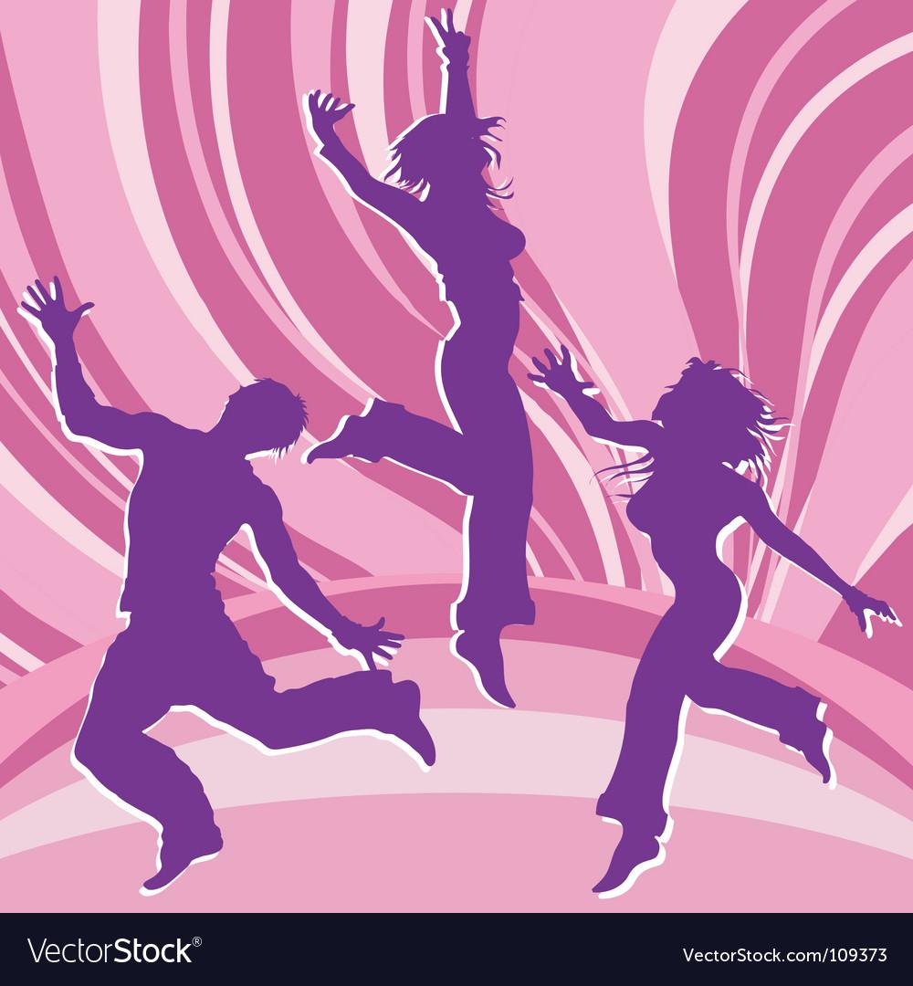 Dancing people in rainbows vector