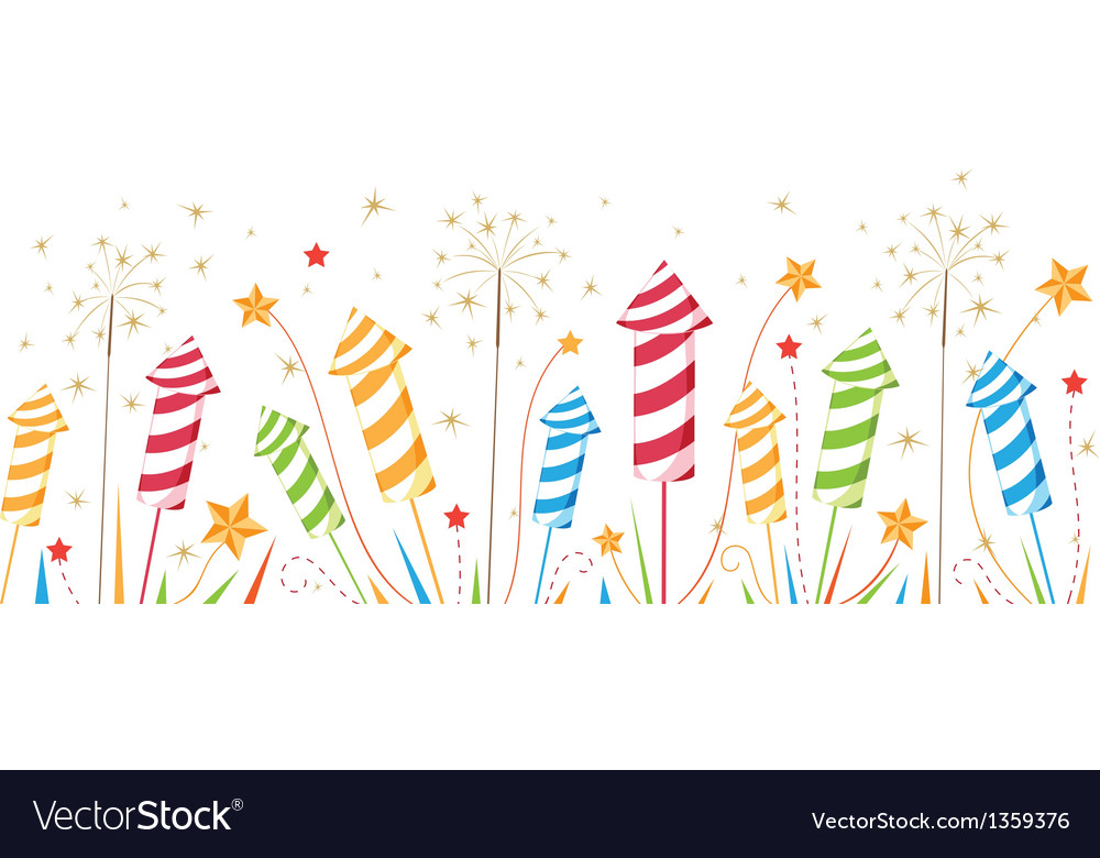 Celebration fireworks seamless border vector