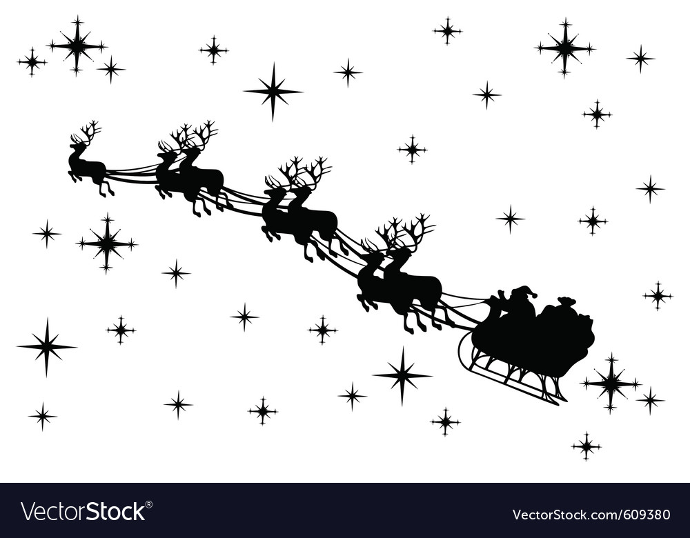 Santa Claus And Reindeer Silhouette Images & Pictures - Becuo