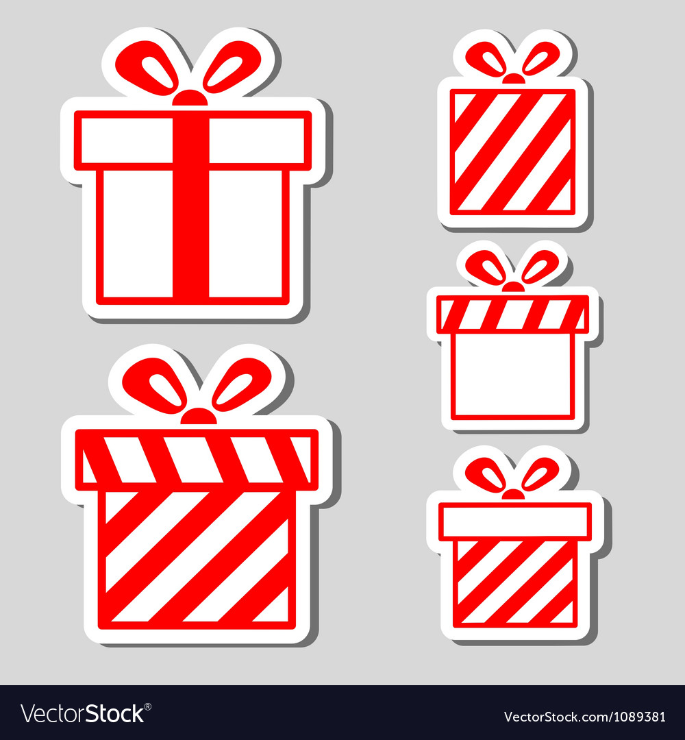 Gift boxes stickers set vector