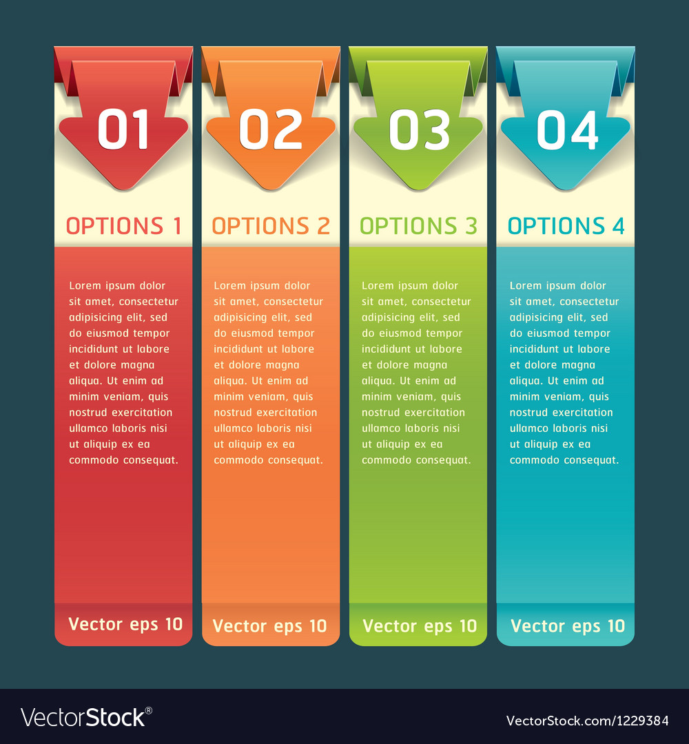Colorful origami style number options banner vector