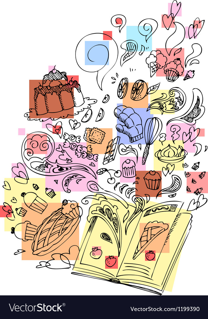 Dessert cooking book sketchy doodle vector