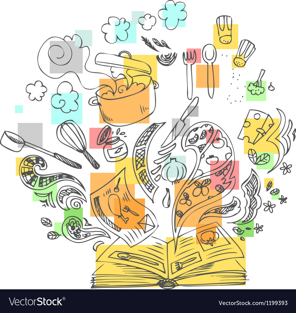 Sketchy doodles cook book vector