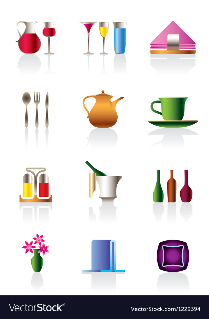 Cafe bar and restaurant icon set vector