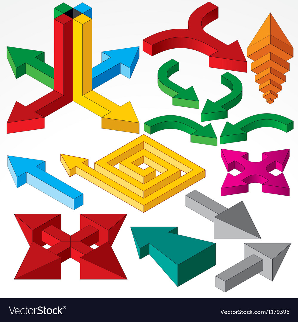 Set of isometric arrows and design elements vector