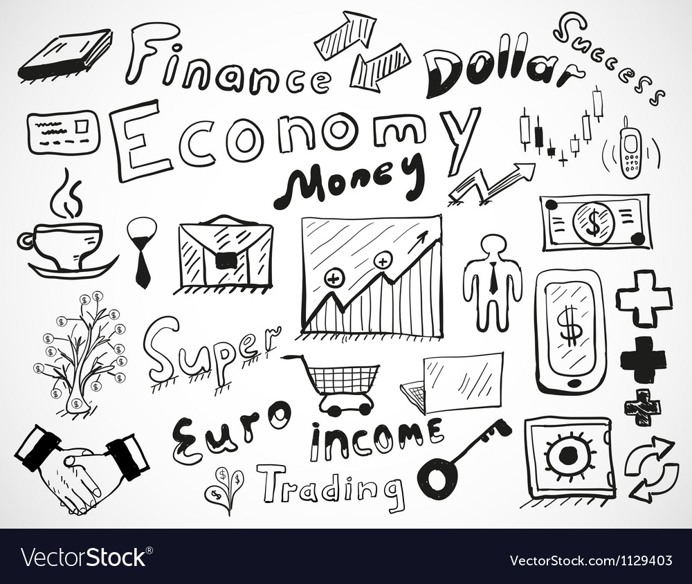 Tabletdrawn doodles business and finace theme vector
