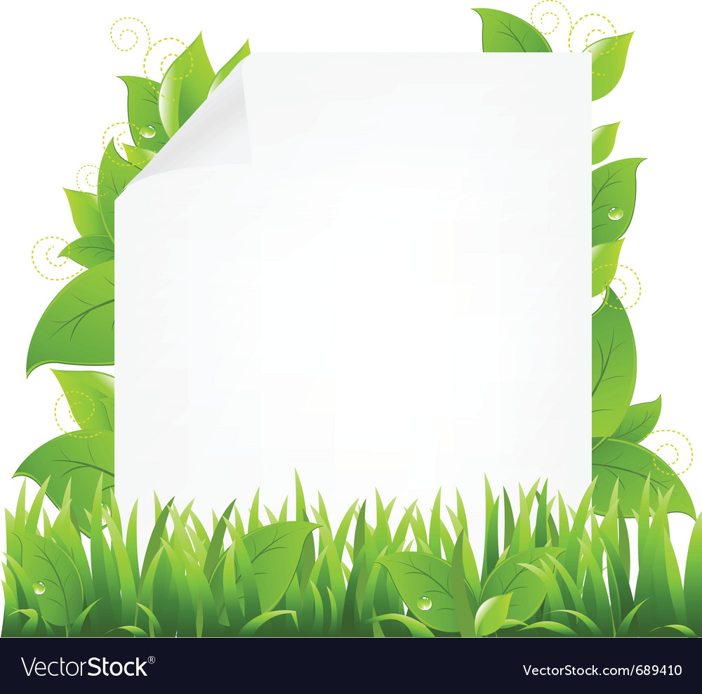Green Eco Frame With Leaves And Ribbon 39004 Download Royalty Free ...