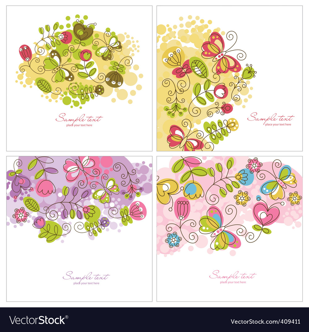 Set of floral illustration vector