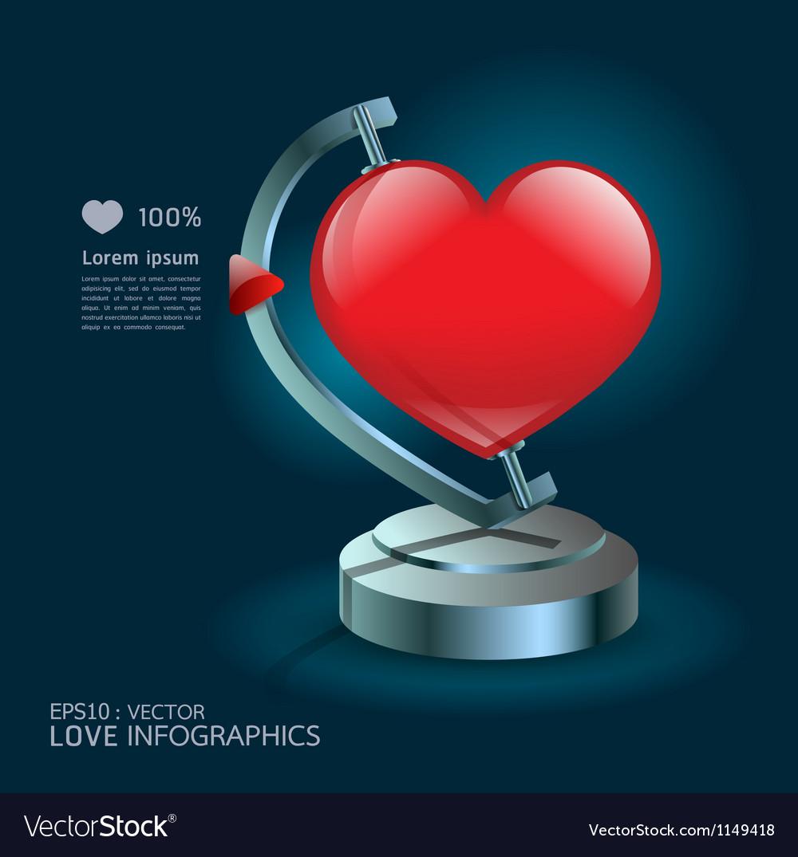 Modern design infographics love globe vector