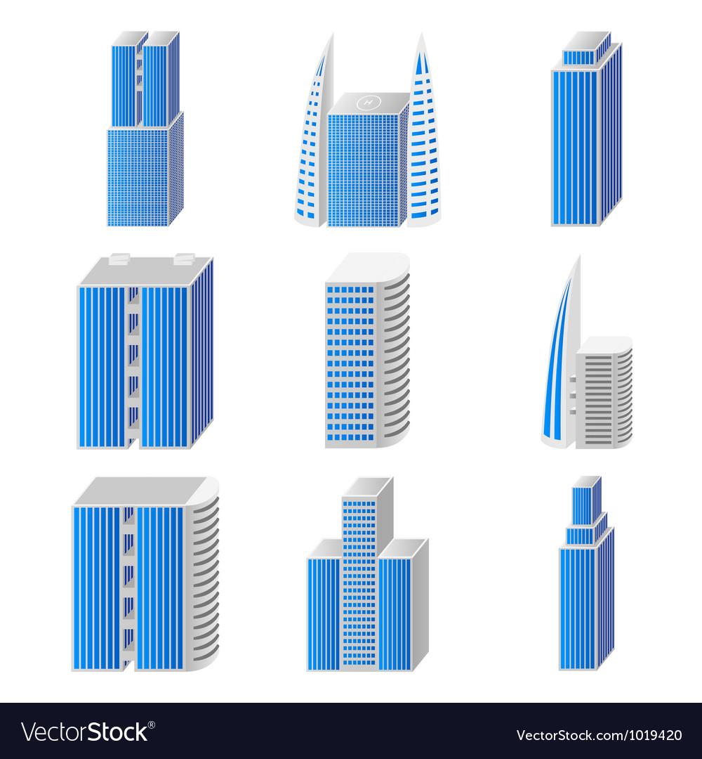 Blue real estate set of icons vector