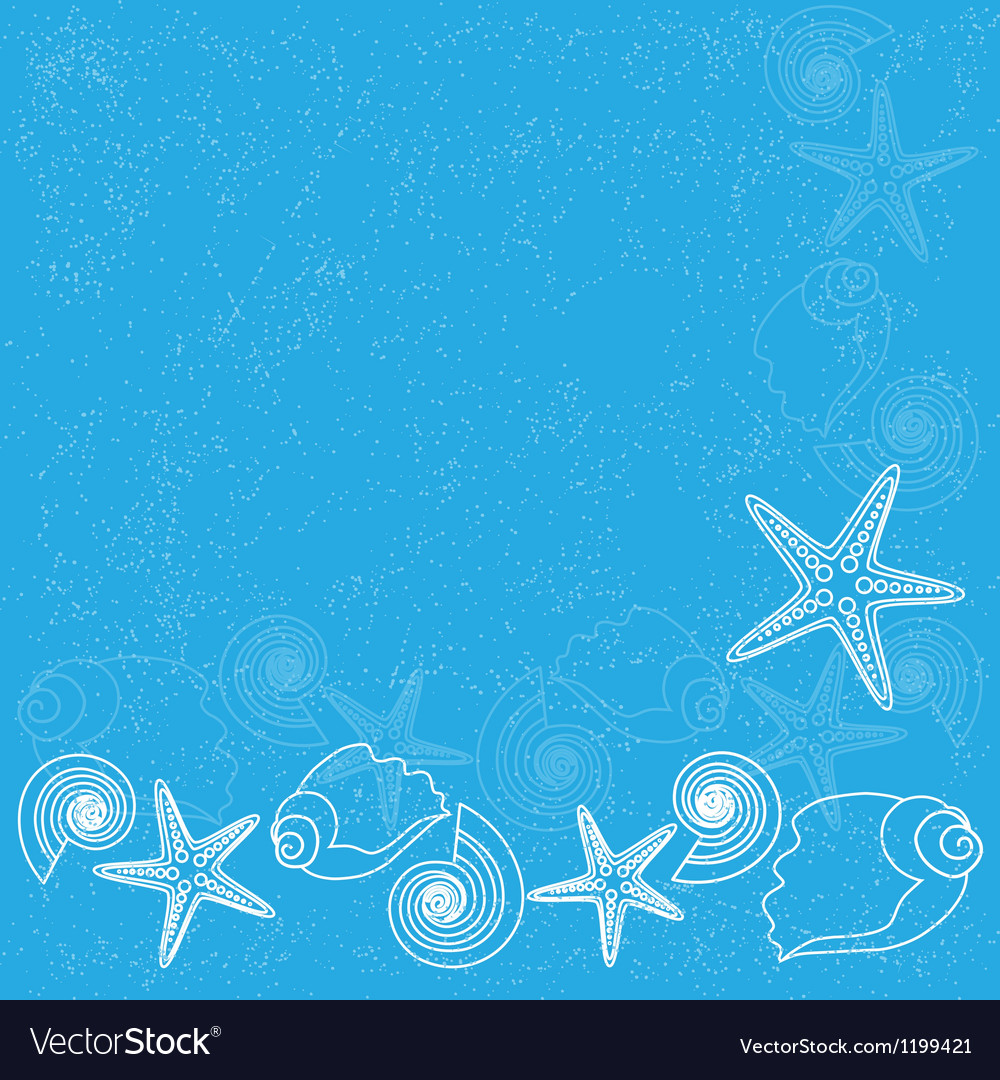 Blue background with sea life vector
