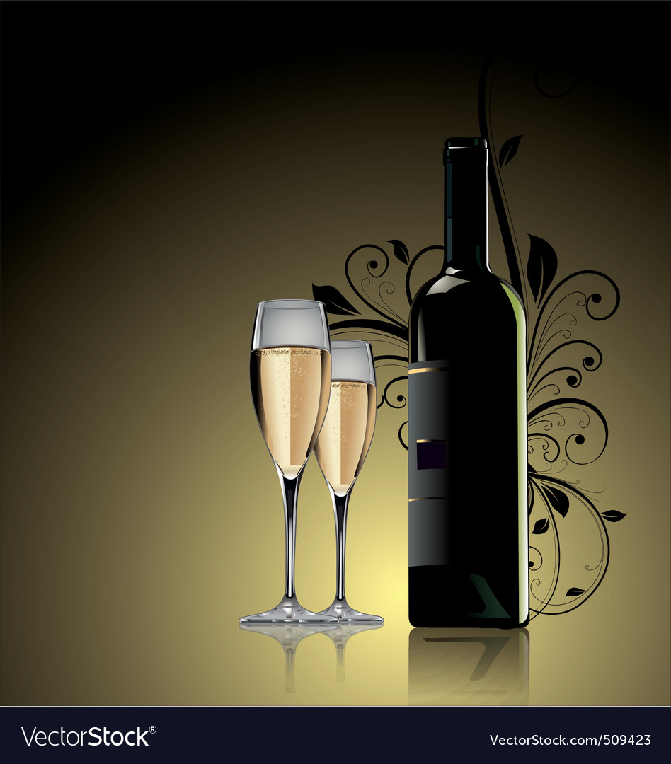 Glass of white wine and bottle vector