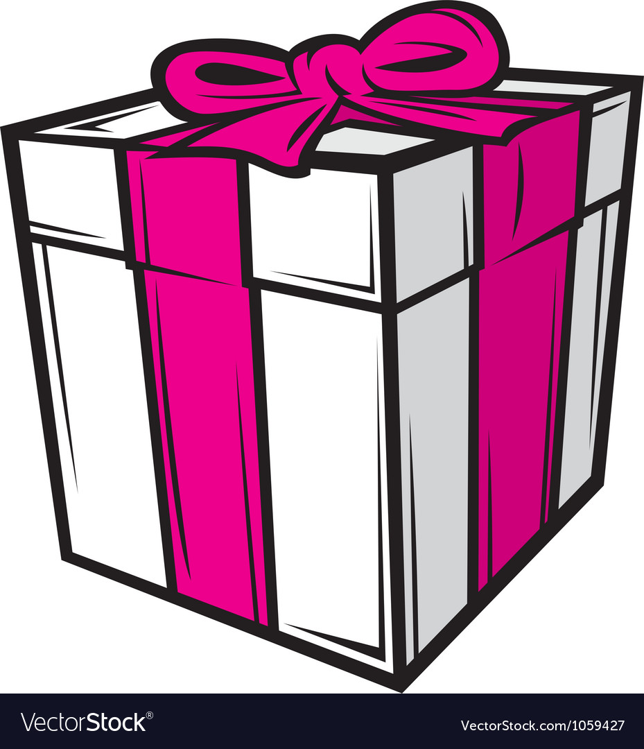 White gift box with pink ribbon vector