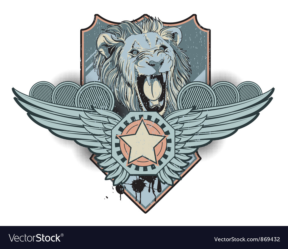 Vintage label with lion vector