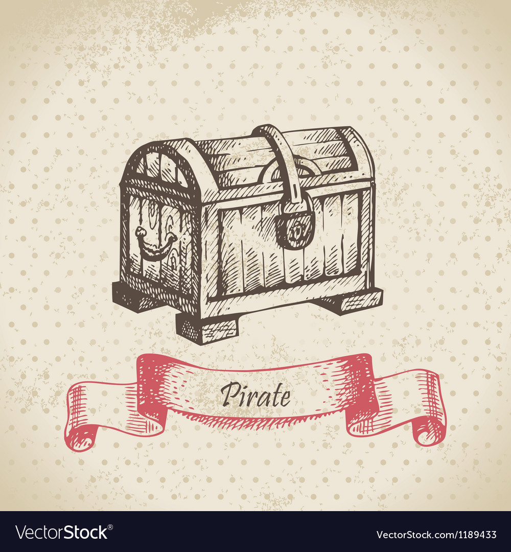 Treasure chest hand drawn vector