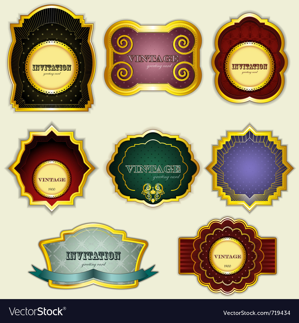 Vintage gold labels set - vector