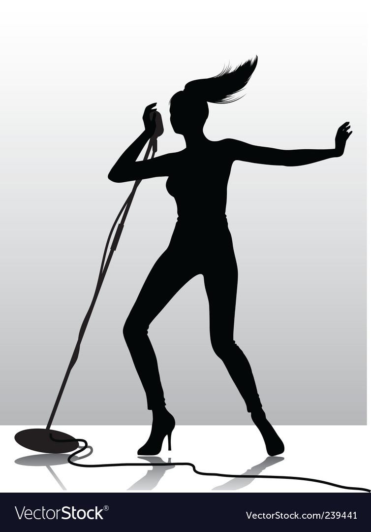 Female singer silhouette vector