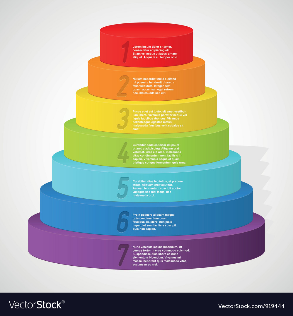 Rainbow pyramid with numbers vector