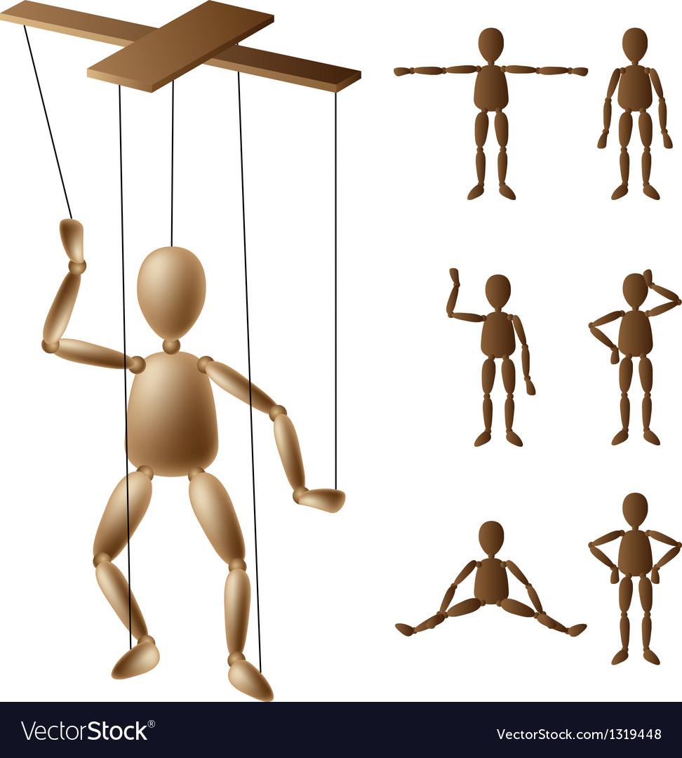 Marionette puppet set vector