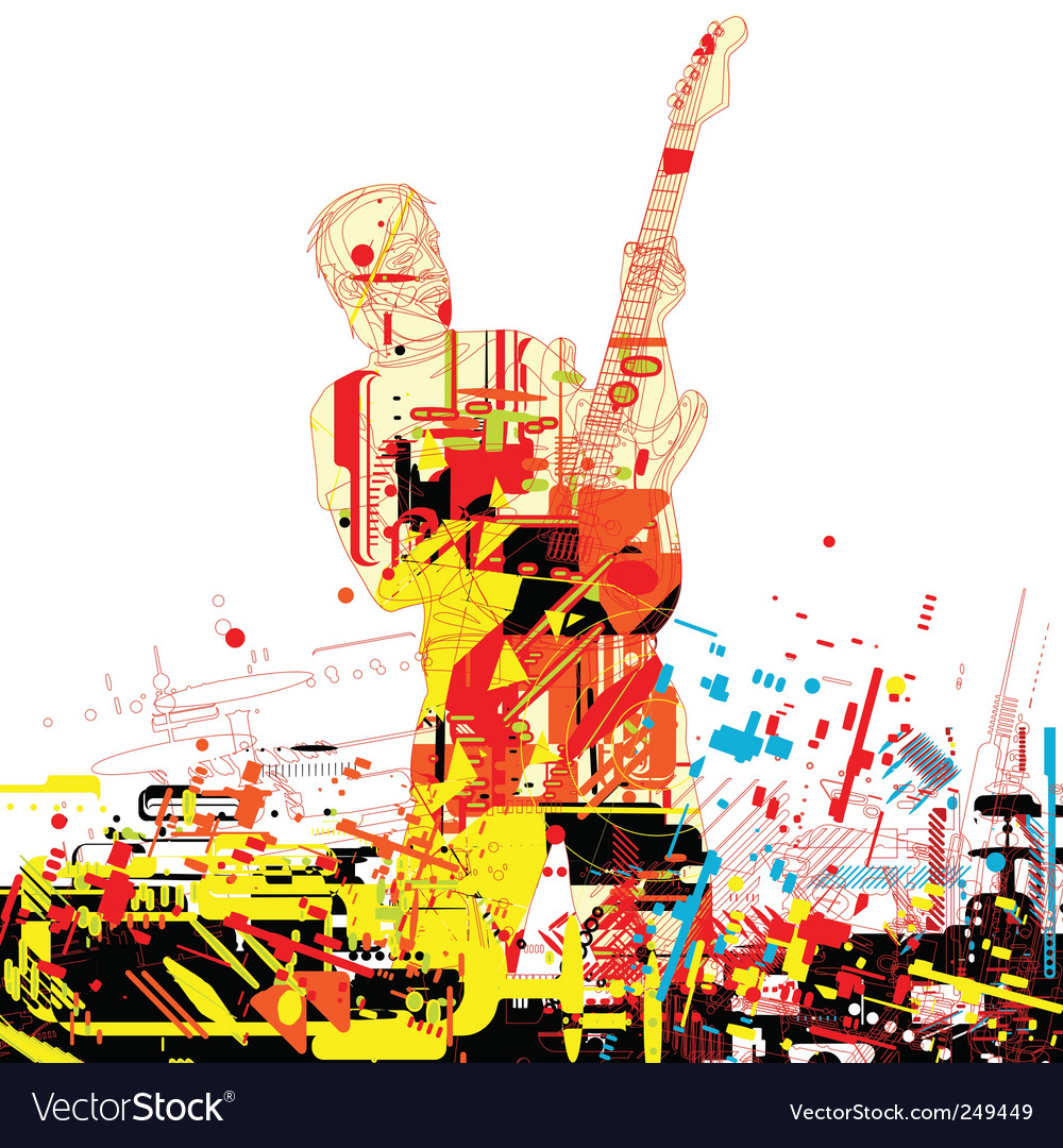 Guitarist paint vector