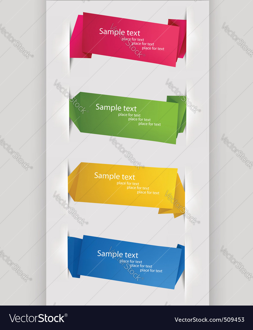 Collection with origami banners vector