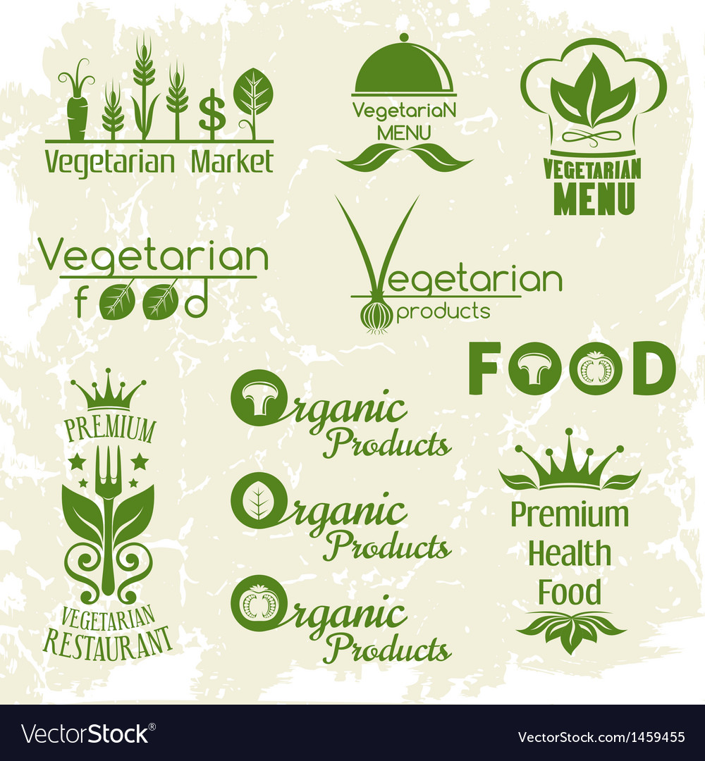 Set of vegetarian food logo vector