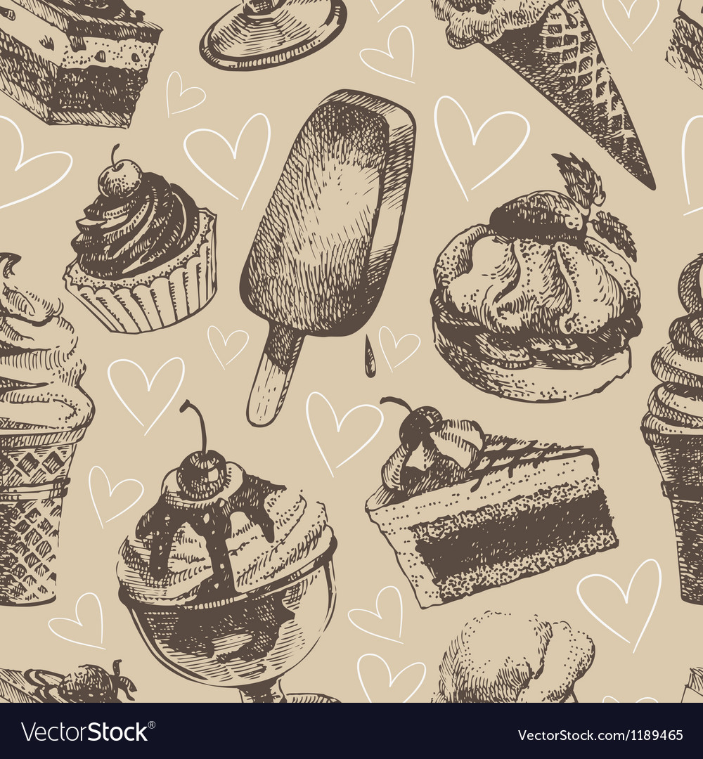 Seamless pattern with ice cream and cakes vector