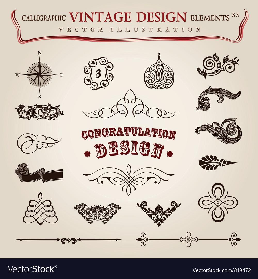 Calligraphic vintage elements vector