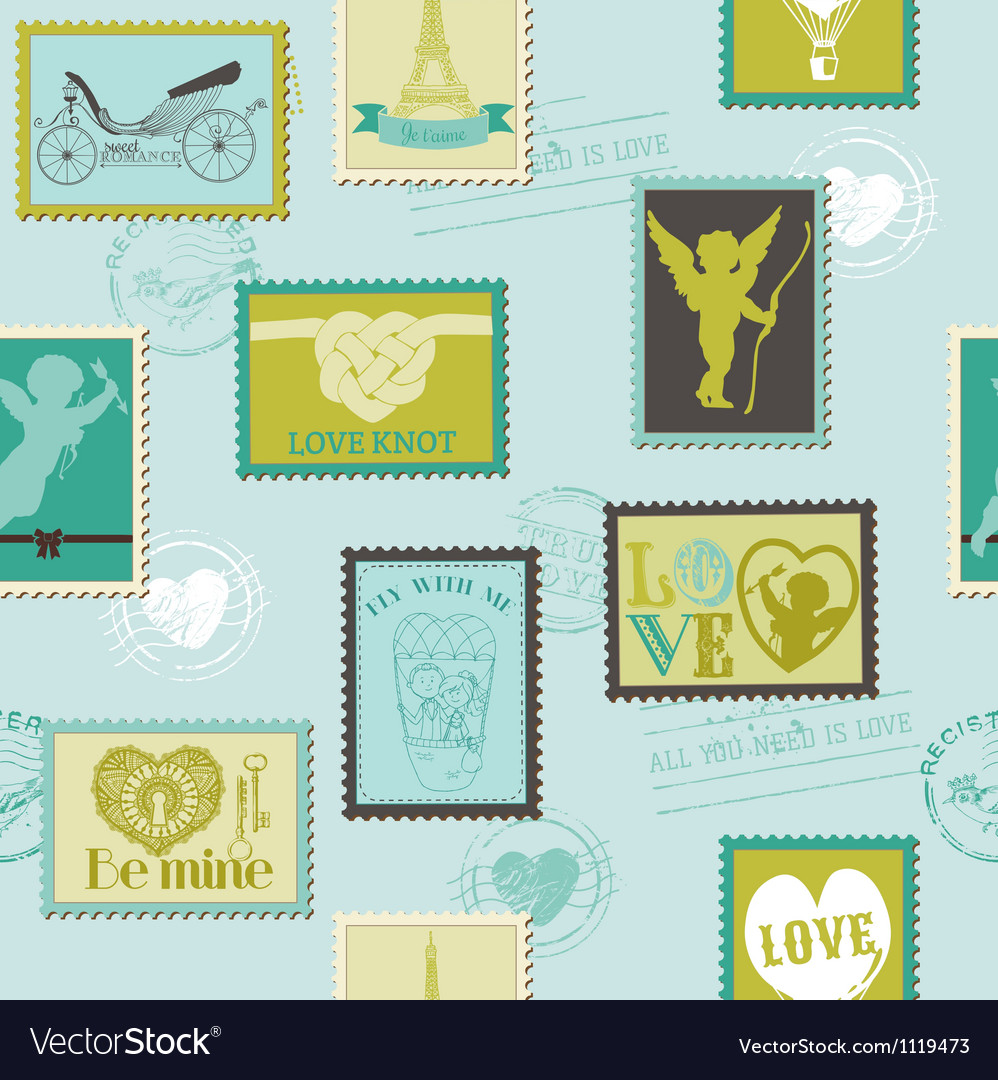 Valentine stamps love background vector