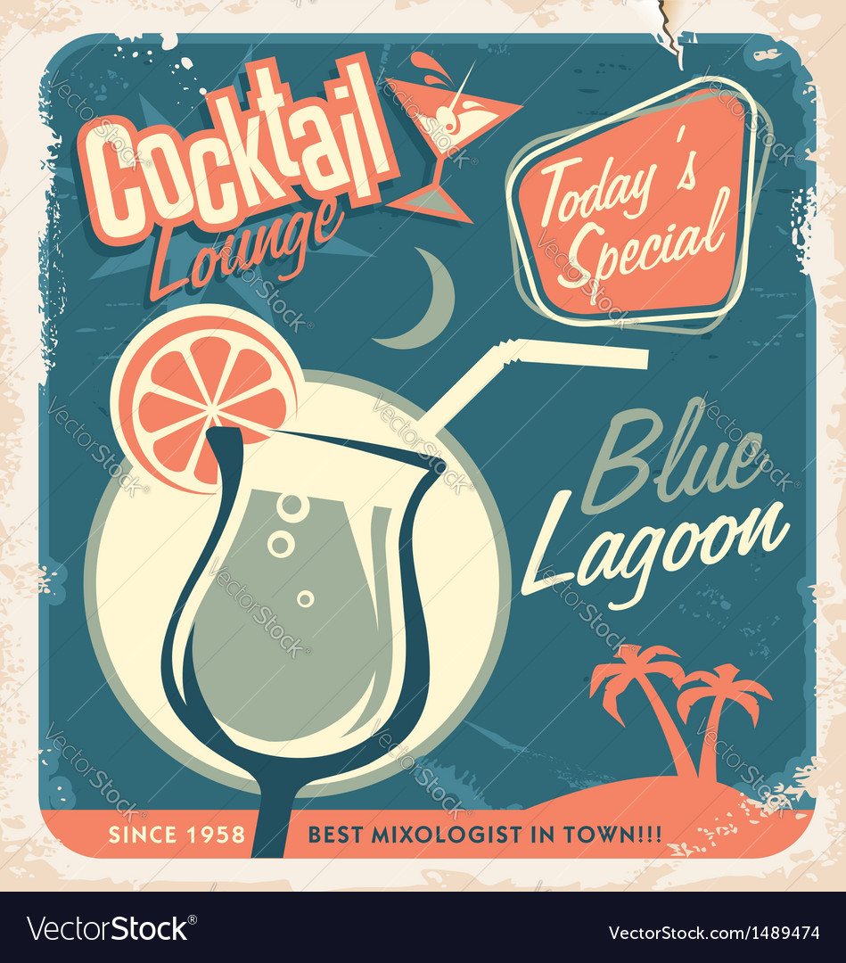 Promotional retro poster design for cocktail bar vector
