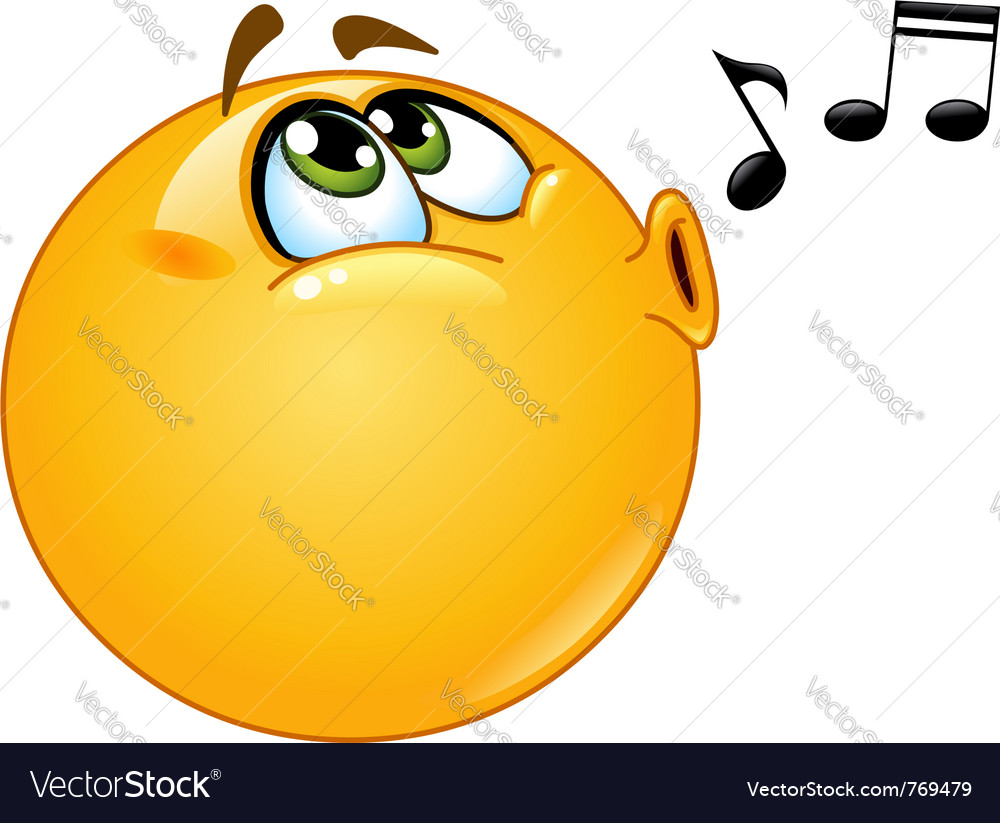 Whistling emoticon vector