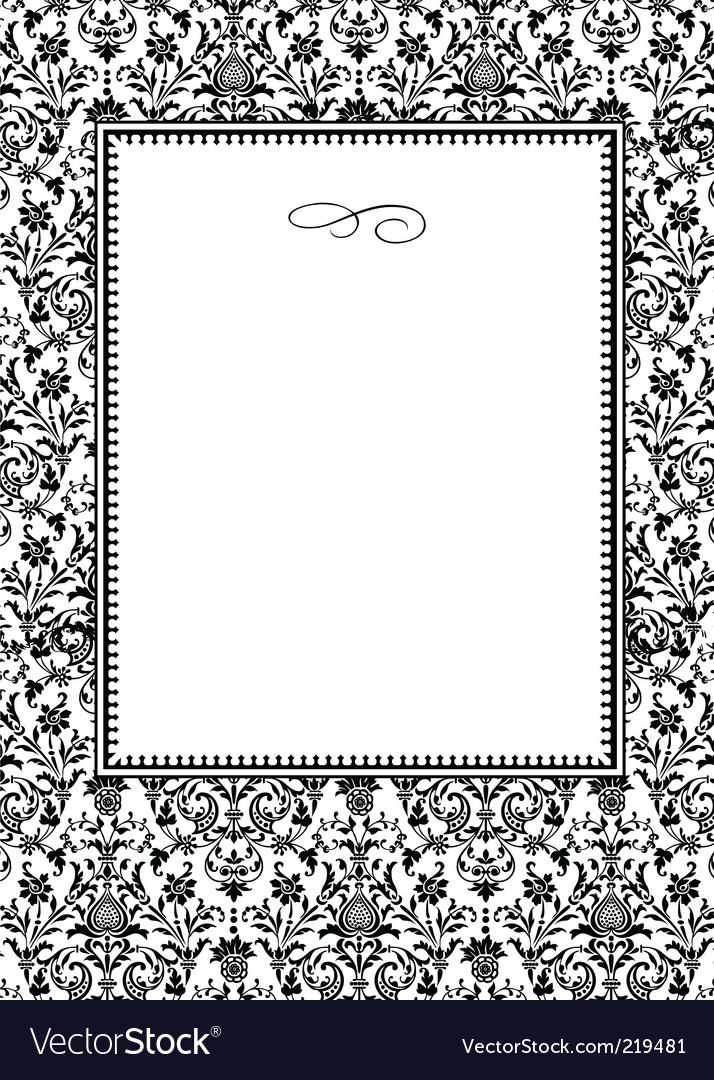 damask frame vector black and white damask border template