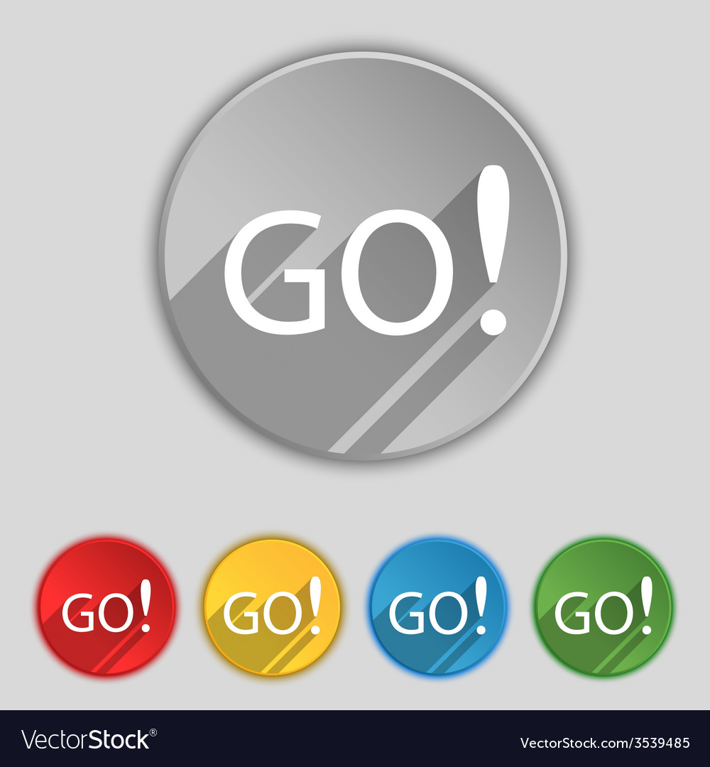 Go Sign Icon Go sign icon set of colored