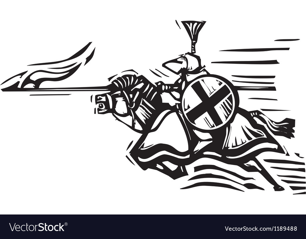 Jousting knight right vector