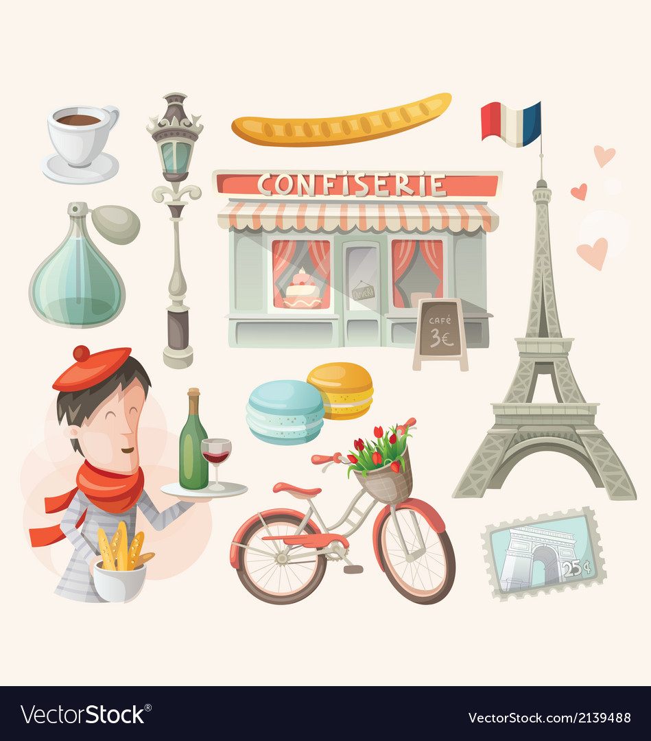 Set of french items vector