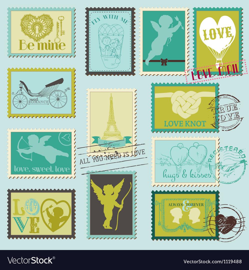Vintage love valentine stamps vector
