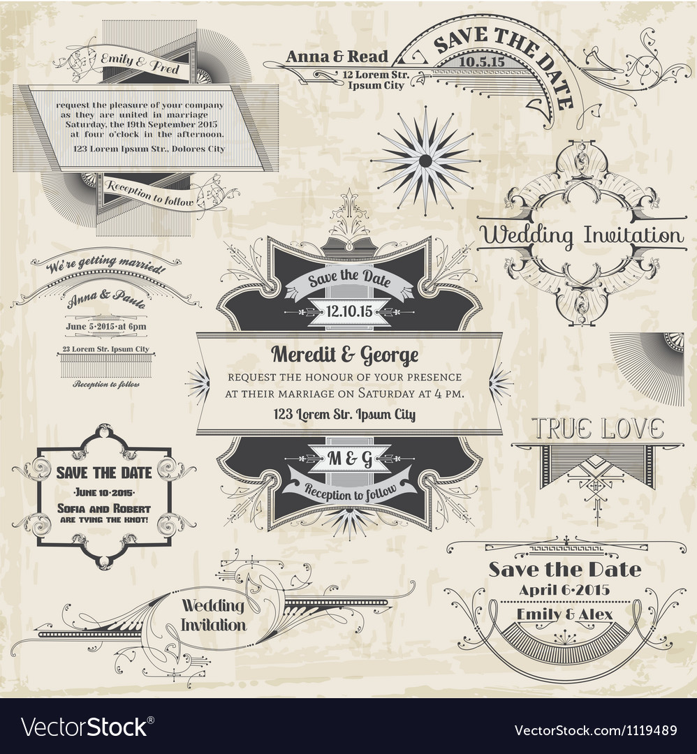 Wedding vintage invitation collection vector