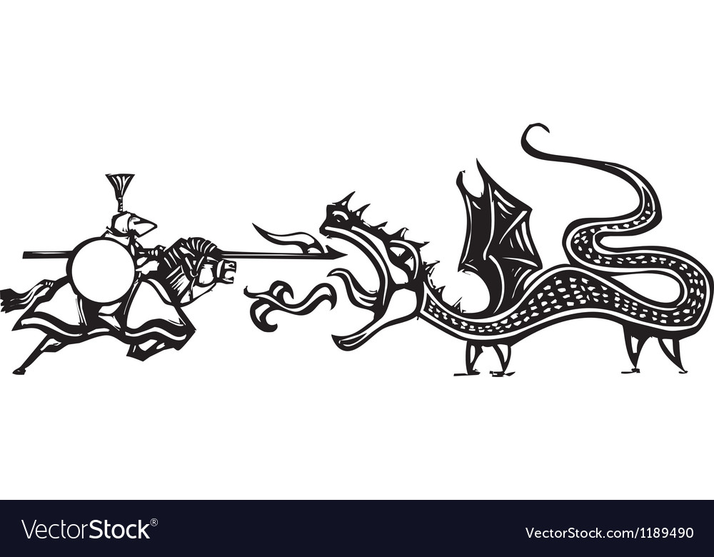 Knight and fire breathing dragon vector