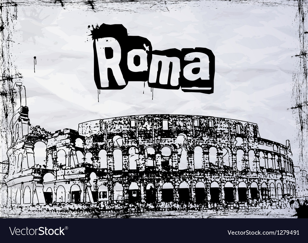 View of the colosseum amphitheater in rome vector