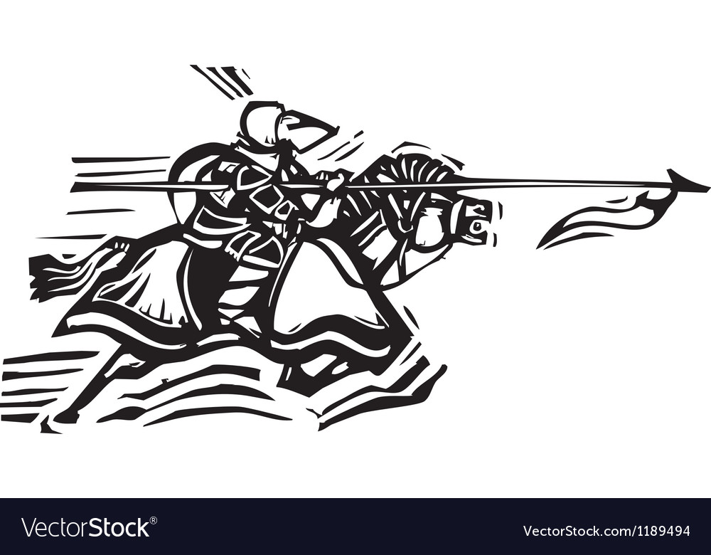 Jousting knight left vector