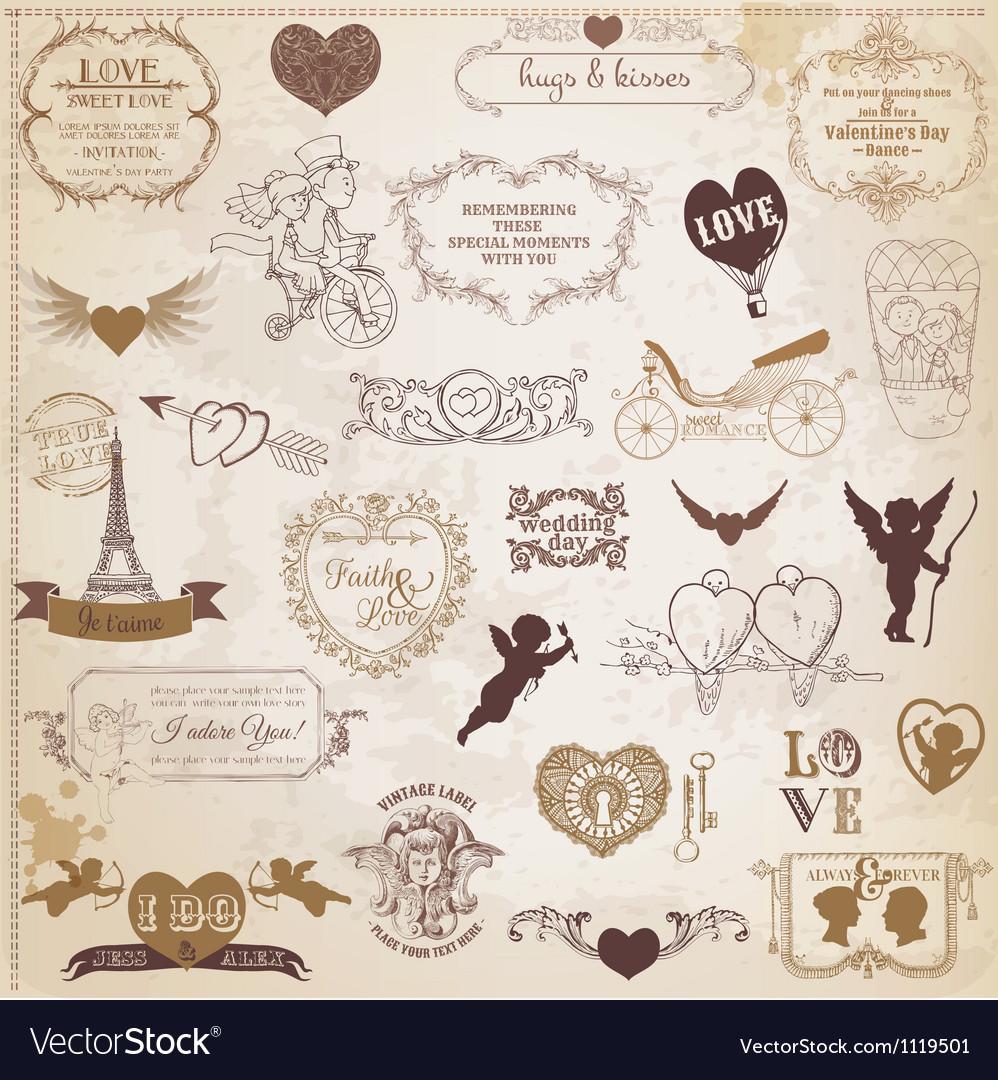 Vintage love valentine day design elements vector