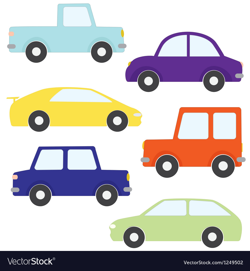 Set of cartoon cars vector