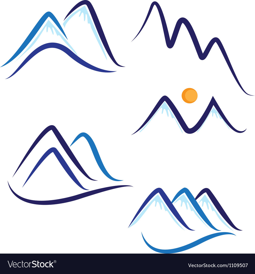 Set of stylized mountains logo vector